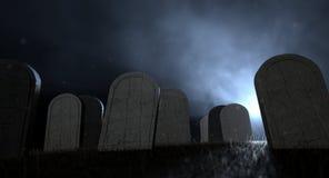 Kyrkogårdgravstenar på natten stock illustrationer