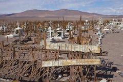 Kyrkogård i den Atacama öknen av Chile Arkivbilder
