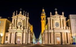 Kyrkor av San Carlo och Santa Cristina i Turin arkivbilder
