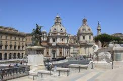 Kyrkor av Santa Maria di Loreto och Santissimo Nome di Maria Most Holy Name av Mary, Rome, Italien royaltyfri bild