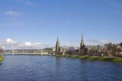 Kyrkor i hjärtan av Inverness, Skottland Arkivbilder