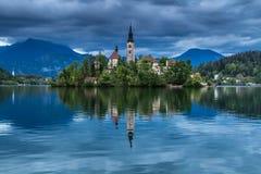 Kyrktaga i mitt av Bled sjön, Slovenien Royaltyfri Foto