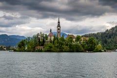 Kyrktaga i mitt av Bled sjön, Slovenien Royaltyfri Bild