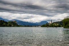 Kyrktaga i mitt av Bled sjön, Slovenien Arkivbild