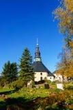 Kyrktaga i Seiffen malmberg i den Sachsen Tyskland på dagsljus Arkivfoto