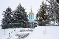 Kyrktaga i vintern mellan den gröna granen royaltyfri fotografi