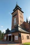 Kyrktaga i Zabawa nära Krakow i Polen förband med livnollan Arkivbilder