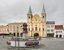 kyrktaga paul st Marianske fyrkant i Zilina slovakia Royaltyfria Bilder