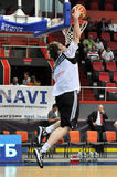 Kyrylo Fesenko throws the ball into the basket from above Royalty Free Stock Image