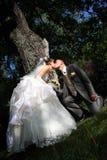 Kyss av brudgummen och bruden Royaltyfri Bild