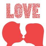 Kyss av förälskelse Arkivfoto