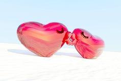 Kyss av hjärtor festligt kort Valentine& x27; s-dagkort Fotografering för Bildbyråer