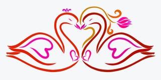Kyss av två behagfulla svanar stock illustrationer