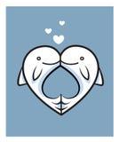 Kyss för fiskförälskelsedatum två Stock Illustrationer