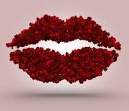 Kyss för röda rosor Arkivfoto