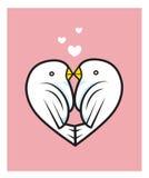 Kyss två för förälskelsefågelhjärta Royaltyfri Illustrationer