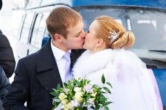 Kyssa den lyckliga bruden och brudgummen på vinterdag Arkivbild