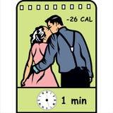 Kyssa för att bränna av kalorier, plan symbol med kaloriräkning Arkivfoton