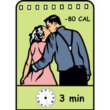 Kyssa för att bränna av kalorier, plan symbol med kaloriräkning stock illustrationer