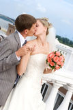 kyssa för brudbrudgum som är utomhus- Arkivfoton
