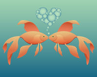 kyssa för guldfisk royaltyfri illustrationer