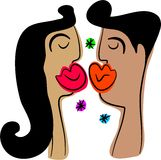 kyssa för par Fotografering för Bildbyråer