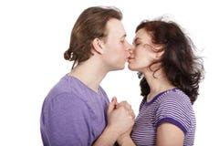 kyssande barn för closeuppar Arkivbilder