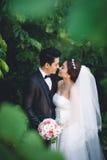 kyssande bröllop för par royaltyfria foton