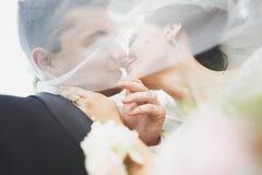 Kyssande brölloppar i stående för vårnaturnärbild royaltyfria foton