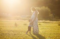 Kyssande buk för liten pojke av hans gravida moder Arkivfoto