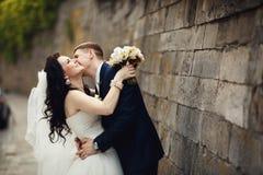 Kyssande härlig brunettbrud för stilig romantisk brudgum nära ol Arkivbild
