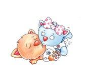 Kyssande katter Royaltyfri Bild