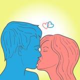 Kyssande kvinna för man Royaltyfri Fotografi