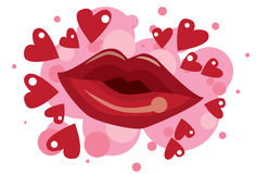 kyssande läppstift Royaltyfria Bilder