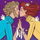kyssande mankvinna Arkivbild