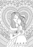 kyssande moder för dotter stock illustrationer