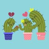 Kyssande par av kaktuns och kaktuns för bruten hjärta royaltyfri illustrationer