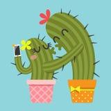 Kyssande par av kaktuns som tar selfie Stock Illustrationer