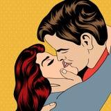 Kyssande par för popkonst Fotografering för Bildbyråer