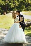 Kyssande stilig brudgum för härlig lycklig ung brud i solbelyst medeltal Royaltyfria Foton