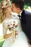 Kyssande stilig brudgum för härlig lycklig ung brud i solbelyst medeltal Royaltyfri Foto
