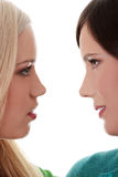 kyssande vänner för kvinnlig Royaltyfria Bilder