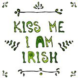 Kyssen är jag irländare Lerrering Kort för helgonPatriks dag stock illustrationer