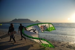 Kytesurfers on the beach. Blouberg, near Cape Town. South Africa Royalty Free Stock Photography