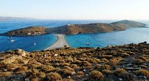 Kythnos island, Kolona beach. The Greek island of Kythnos/Thermia in the Cyclades. Kolona beach royalty free stock photos