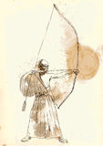 Kyudo. Modern Japanese martial art. A hand drawn illustration of an old Samurai shooting an arrow from a bow (the Archer Royalty Free Stock Photography