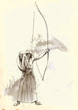 Kyudo. Modern Japanese martial art. A hand drawn illustration of an old Samurai shooting an arrow from a bow (the Archer Stock Photo