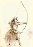 Kyudo. Modern Japanese martial art. A hand drawn illustration of an old Samurai shooting an arrow from a bow (the Archer Stock Photography