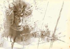 Kyudo. Modern Japanese martial art. A hand drawn illustration of an old Samurai shooting an arrow from a bow (the Archer Stock Photos