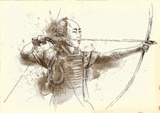 Kyudo. Modern Japanese martial art. A hand drawn illustration of an old Samurai shooting an arrow from a bow (the Archer Stock Image